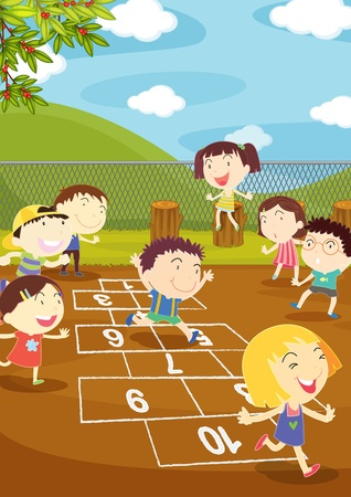 Illustration of kids playing hopscotch in a playground Illustration