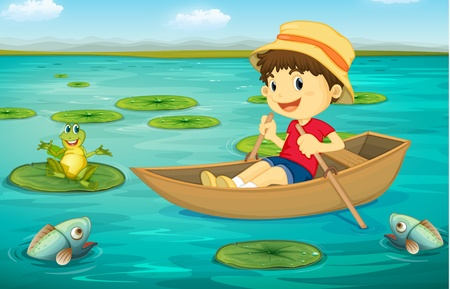 children pond: Illustration of boy in boat in a lake with animal characters