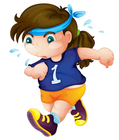 Fat child exercising to lose weight Vector