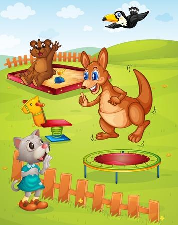 salto de valla: Diferentes animales en un layground Vectores