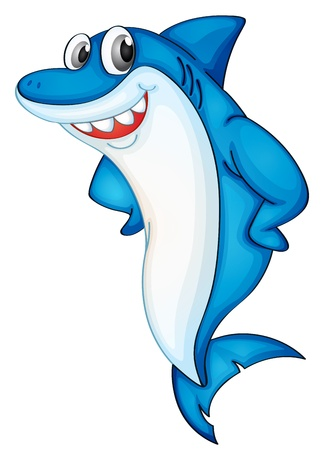 shark mouth: Comical shark character on white Illustration