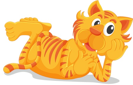 Tiger laying down on white Stock Vector - 13424904