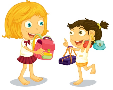 School children getting ready for school Vector