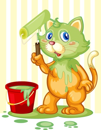Messy cat with paint on head Vector