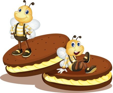 dessert stand: Cute bees on two biscuits Illustration