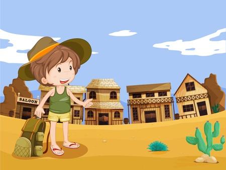 Ilustración del niño en el medio silvestre oeste de la ciudad Vectores