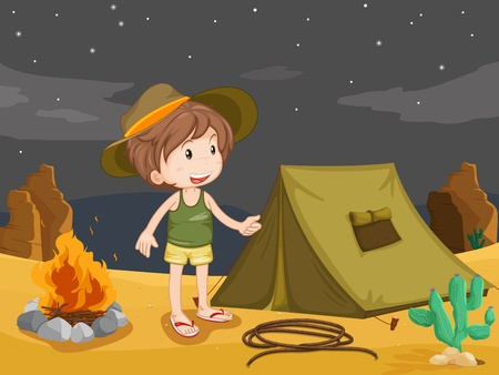 Illustration of boy camping in the desert