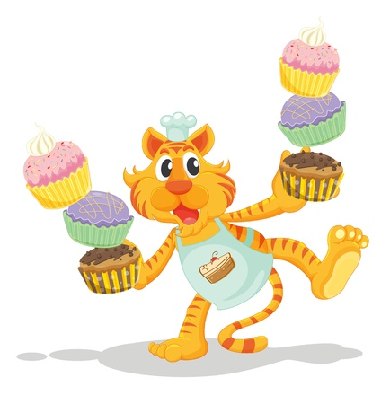 orange cake: Tiger carrying cupcakes on white