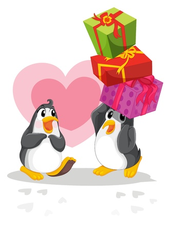 three presents: Romantic penguin giving gifts Illustration