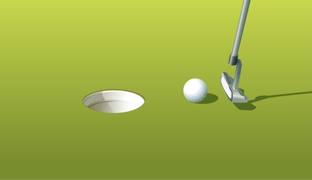 putter: Illustration of a golf ball near the hole