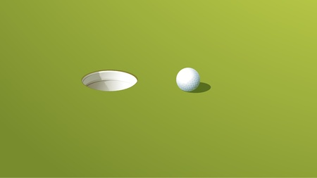 putting up: Illustration of a golf ball near the hole