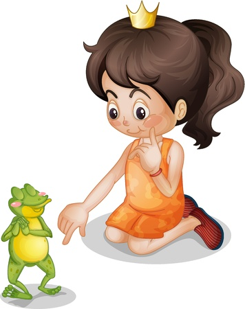 kid pointing: Frog with a cute girl