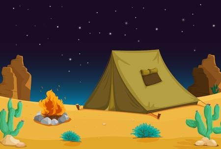 plantas del desierto: Acampar bajo el cielo nocturno Vectores