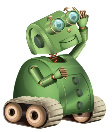 retro robot: Illustration of an old style robot