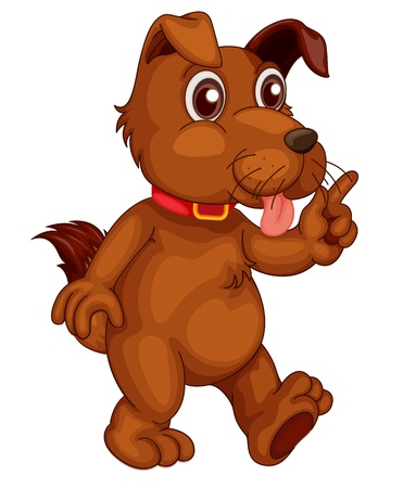 Illustration of a single cute dog in cartoon style Vector