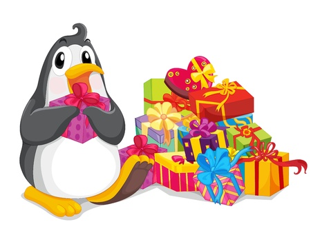 Penguin sitting with christmas presents Vector
