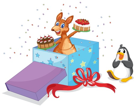 Kangaroo and penguin with cakes at Christmas Vector