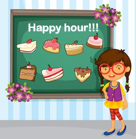 porcion de pastel: Menú para las tortas con la muchacha