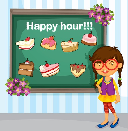 blackboard cartoon: Menu for cakes with girl Illustration