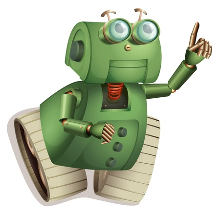 pointing up: Illustration of an old style robot