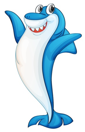 man eater: Illustration of a blue and white shark