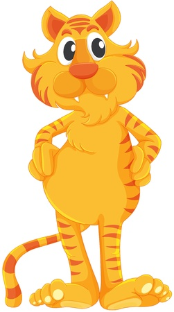 yellow tigers: Comical tiger on a white background
