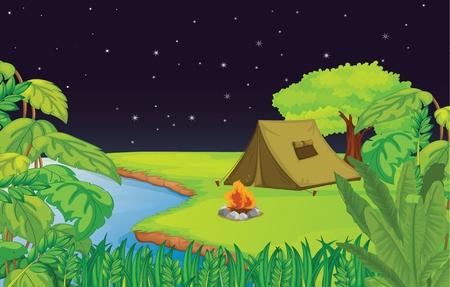 camp de vacances: Illustration d'un camping Illustration