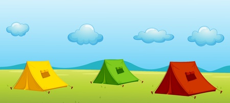 Illustration of 3 tents in a field Vector