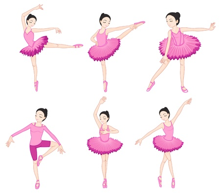moves: Illustraiton of ballerinas on white
