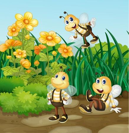 abeja caricatura: Ilustración de la abeja en un jardín