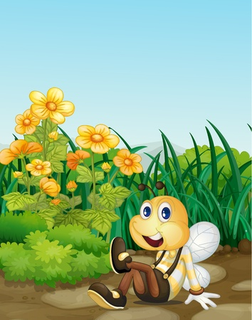 comic wasp: Illustration of bee in a garden
