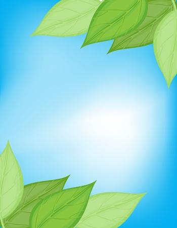 illustraiton: Illustraiton de la tarjeta de la naturaleza verde y azul