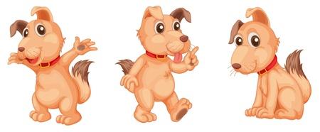 dog ear: Illustraiton of pink dogs on white Illustration