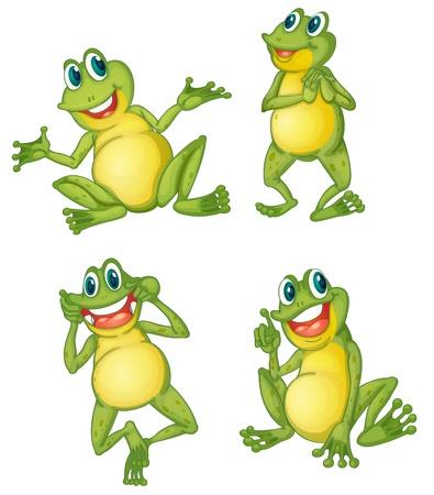 funny frog: Illustraiton of green frogs on white Illustration