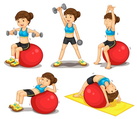 Illustraiton of girl doing exercises Vector
