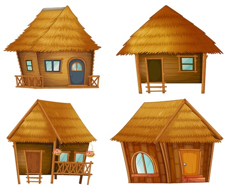 thatched roof: Illustraiton on huts on white background Illustration