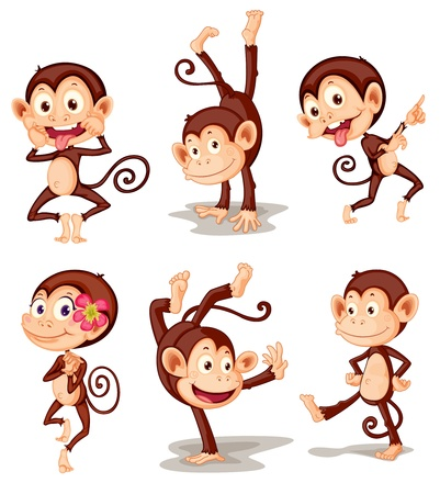 Illustraiton of comical monkey series Vector