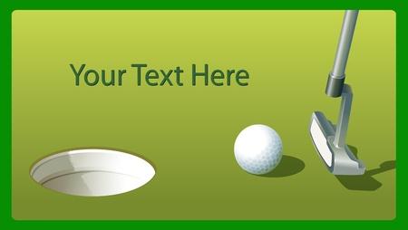 illustraiton: Illustraiton del palo de golf y la pelota cerca del agujero