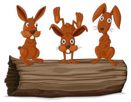 illustraiton: Illustraiton of rabbits on a log Illustration