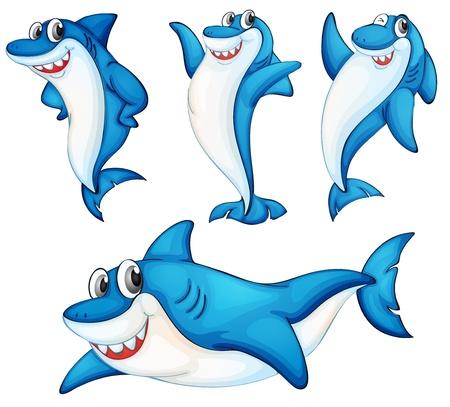 conviviale: Illustraiton de la s�rie comique de requin Illustration