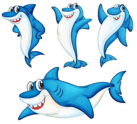fish tail: Illustraiton of comical shark series