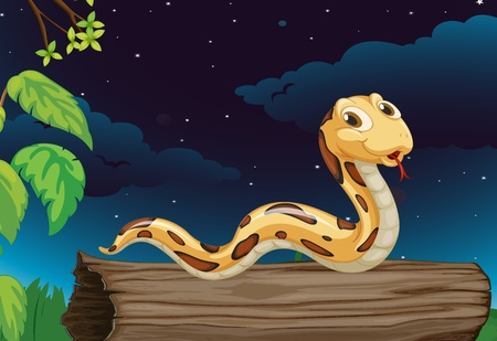 creeping: Illustraiton of snake on a log at night