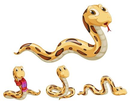 Illustraiton van komische slangen op wit