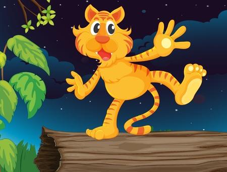 ocas: Illustraiton de tigre en el registro de la noche Vectores