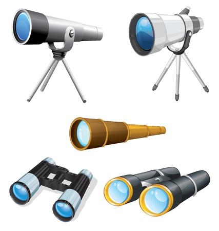 kijker: Illustraiton van telescopen en verrekijkers Stock Illustratie