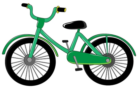 pedaling: Illustration of small green bike on white