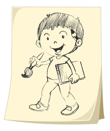Illlustration of a boy on paper (sketch) Vector