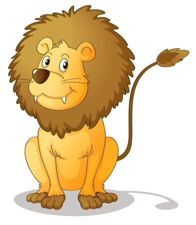 Lion sitting in the ground with white background Vector
