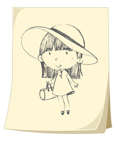 cute girl cartoon: Illustration of a girl sketched on yellow paper