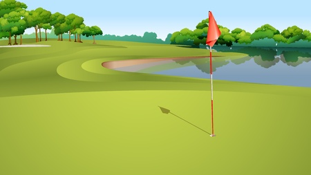 putting up: Illustration of golf hole from green Illustration